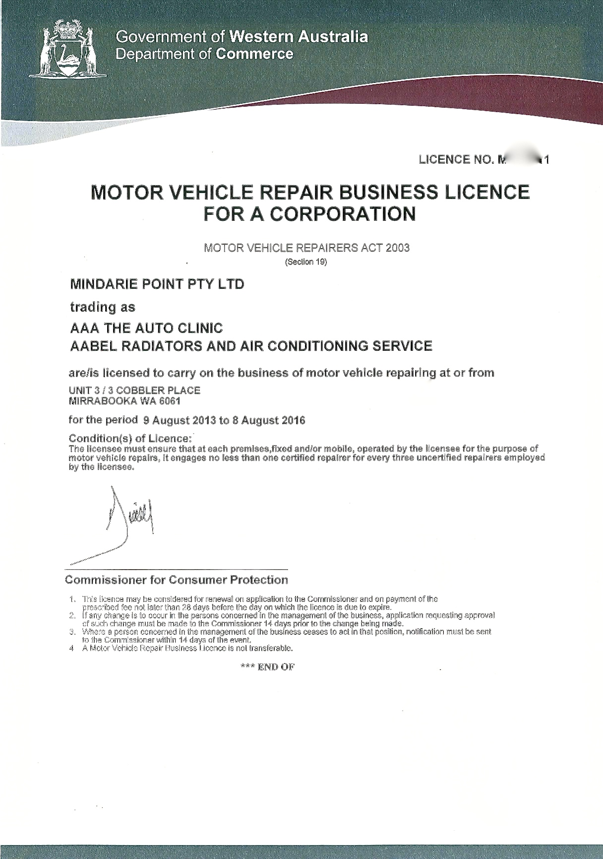 motor mechanic licence